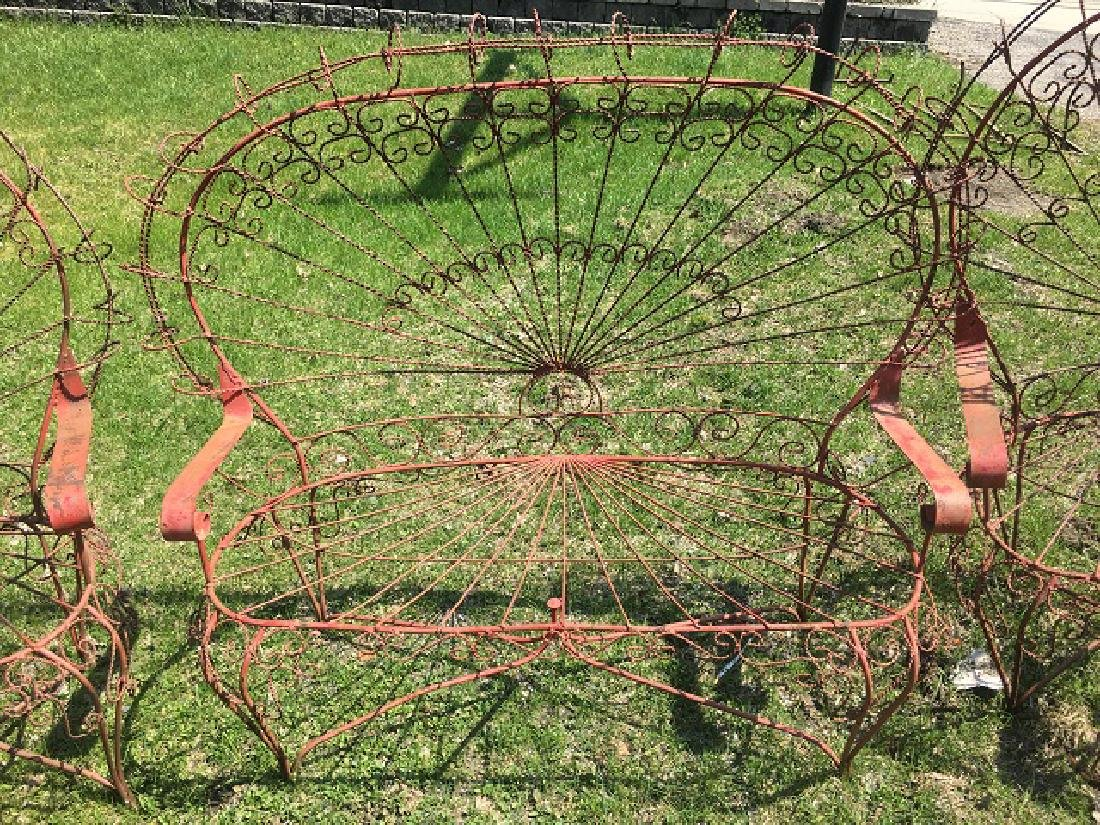 Victorian Twisted Wire Peacock Garden Settee & Chairs - 3