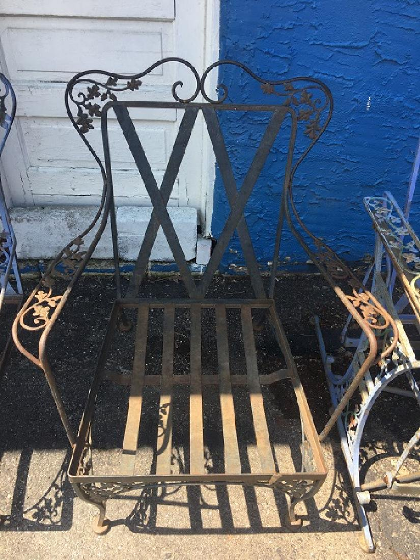 Vintage Wought Iron Arm Chairs - 3