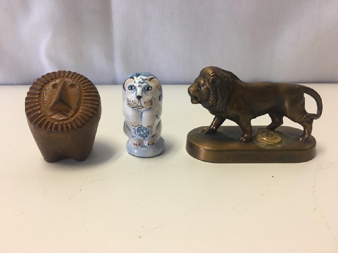 Lot of 3 Decorative Lion Figures