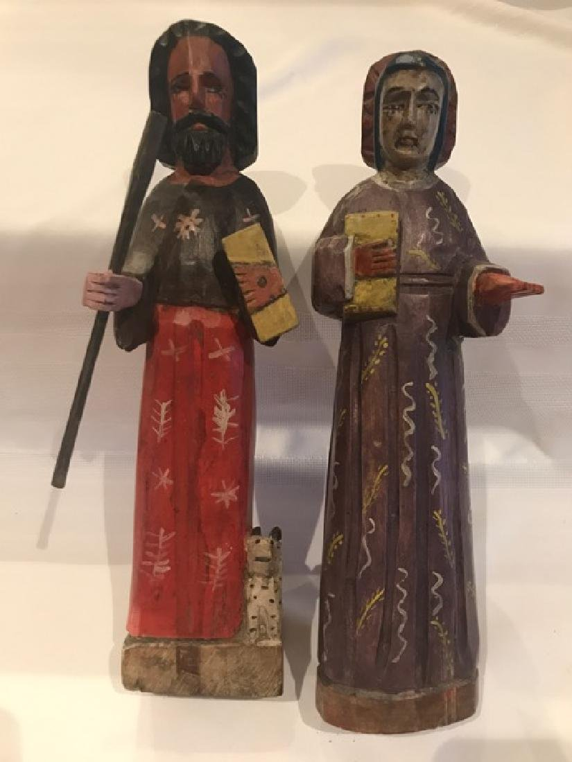 Two Carved Wood Religious  Figures