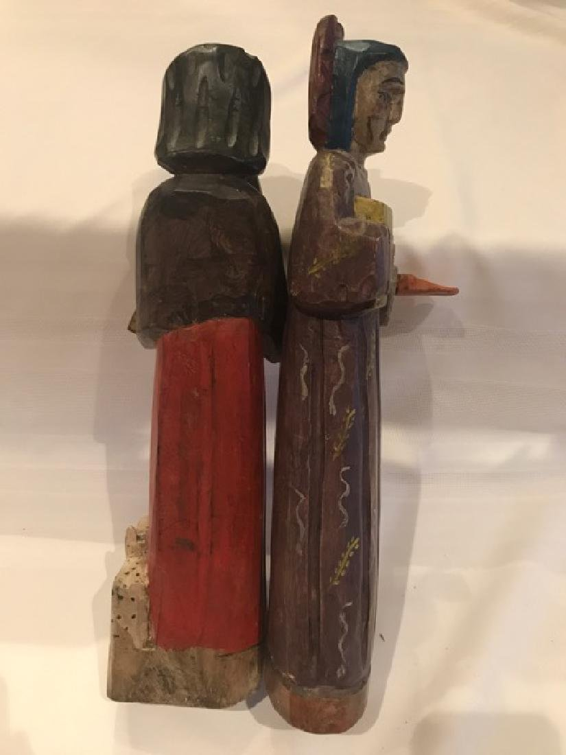 Two Carved Wood Religious  Figures - 3