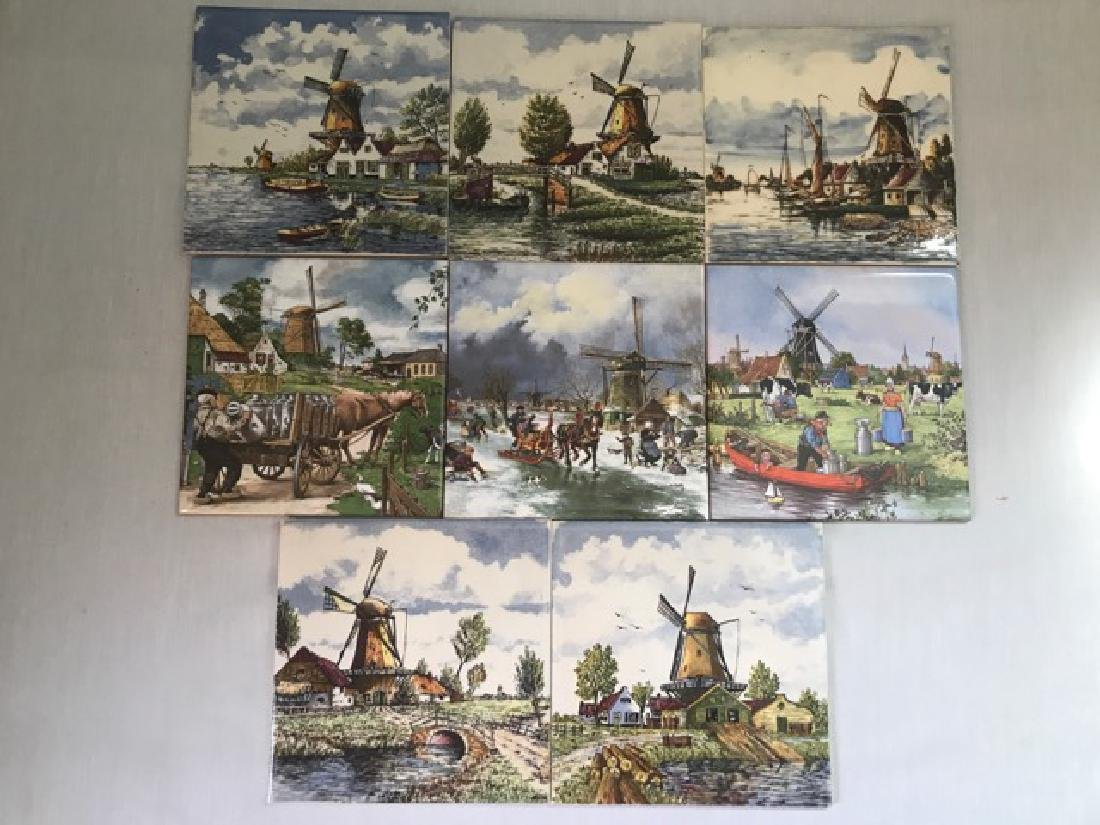 Dutch Delft Polychroom Handpainted Tiles (8)