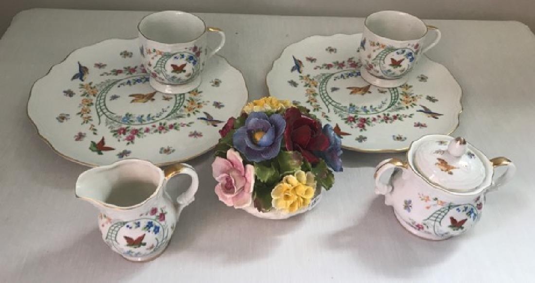 Aynsley Bone China Flowers and Dessert Set