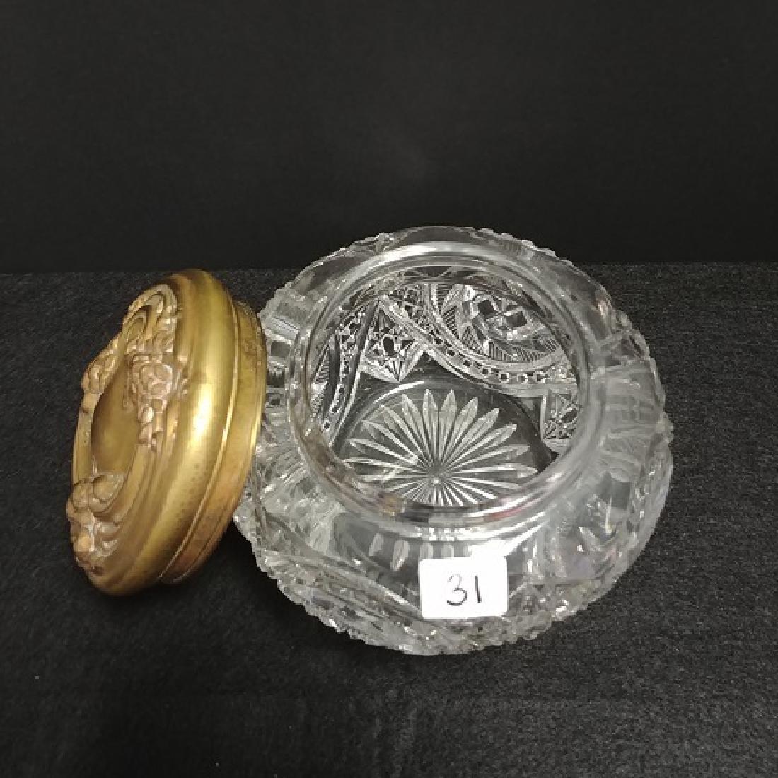 Cut Glass Dresser Jar with Lid - 4