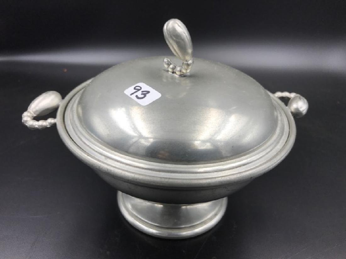 Pewter Covered Bowl Danish Style