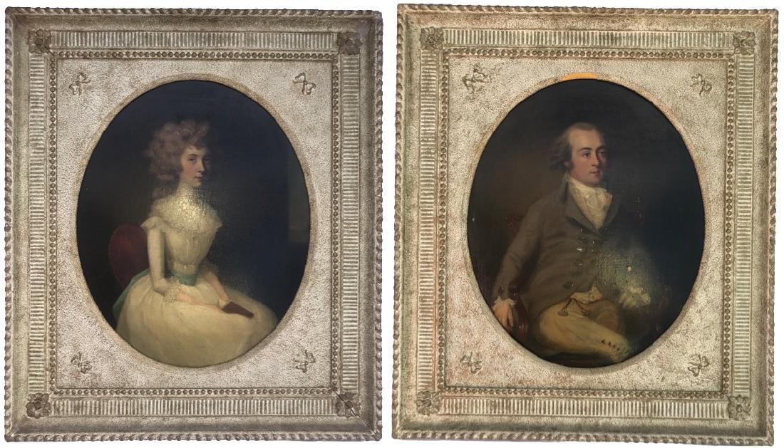 Important Pair of 18th C.  Arthur Devis Oval Portraits