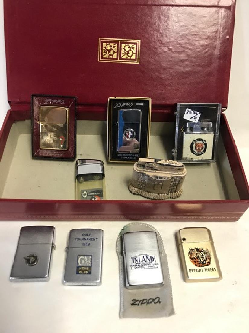 Lot of Nine Automobile/Detroit Related Lighters