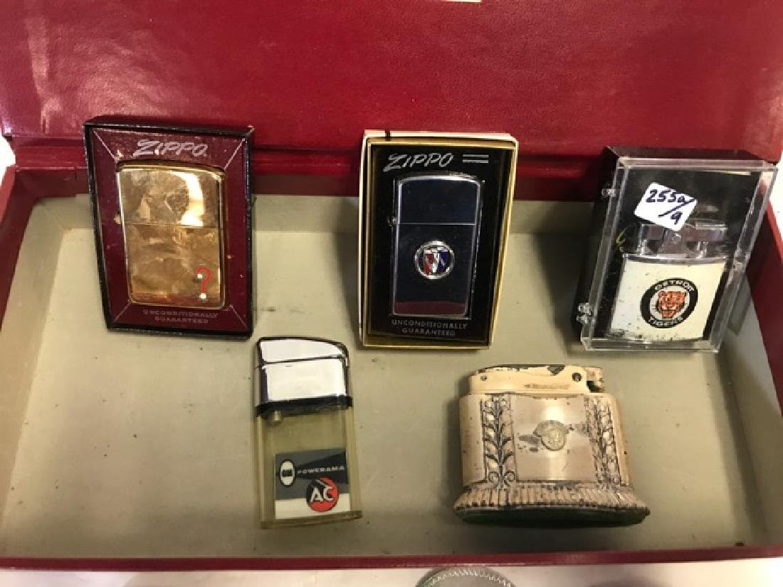 Lot of Nine Automobile/Detroit Related Lighters - 2
