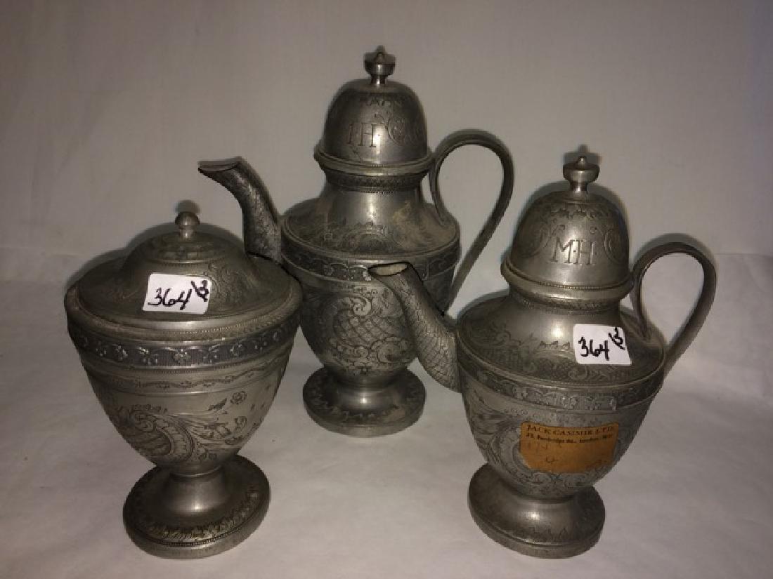 Heavily Engraved Pewter Teapot, Creamer & Sugar