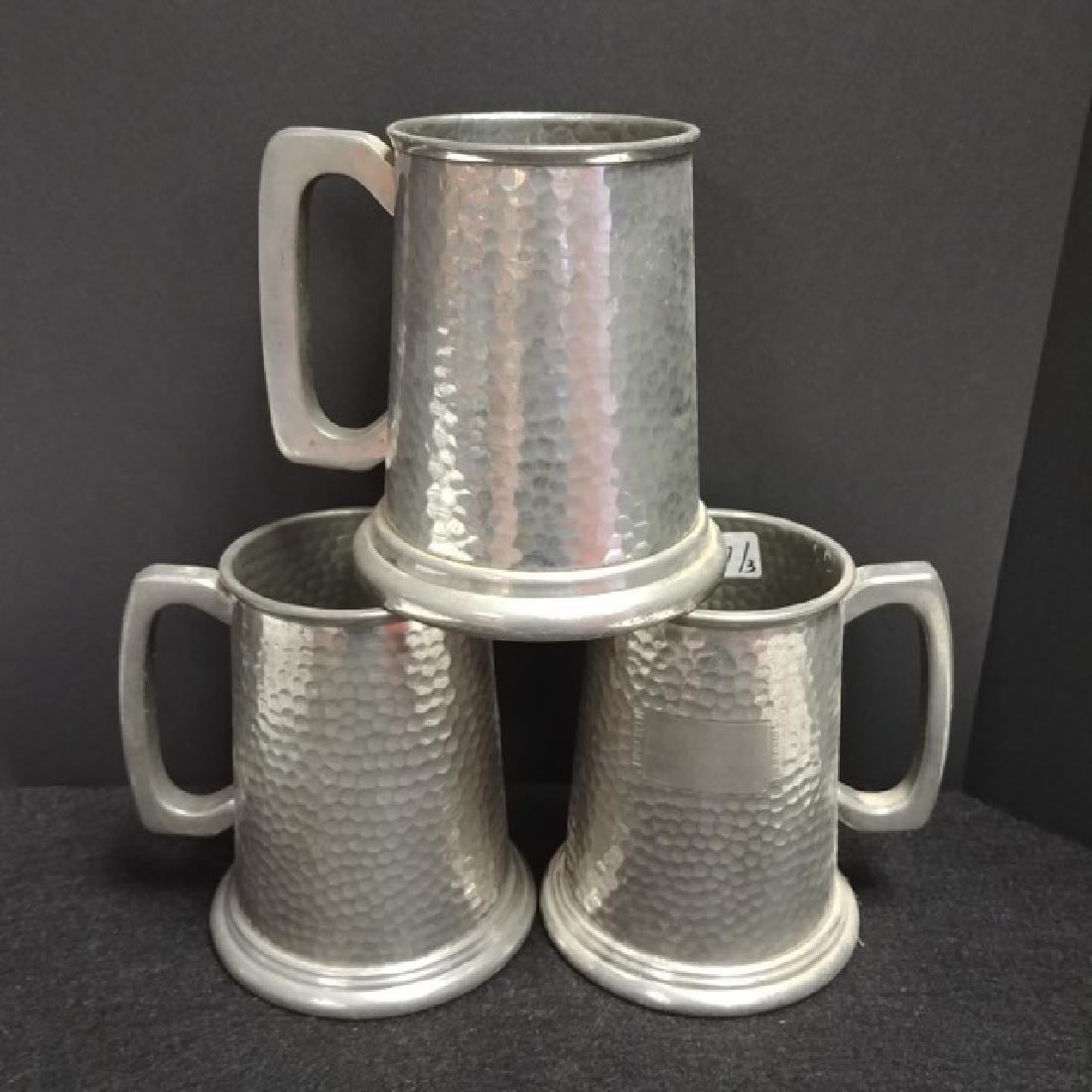 3 Hammered Pewter Mugs