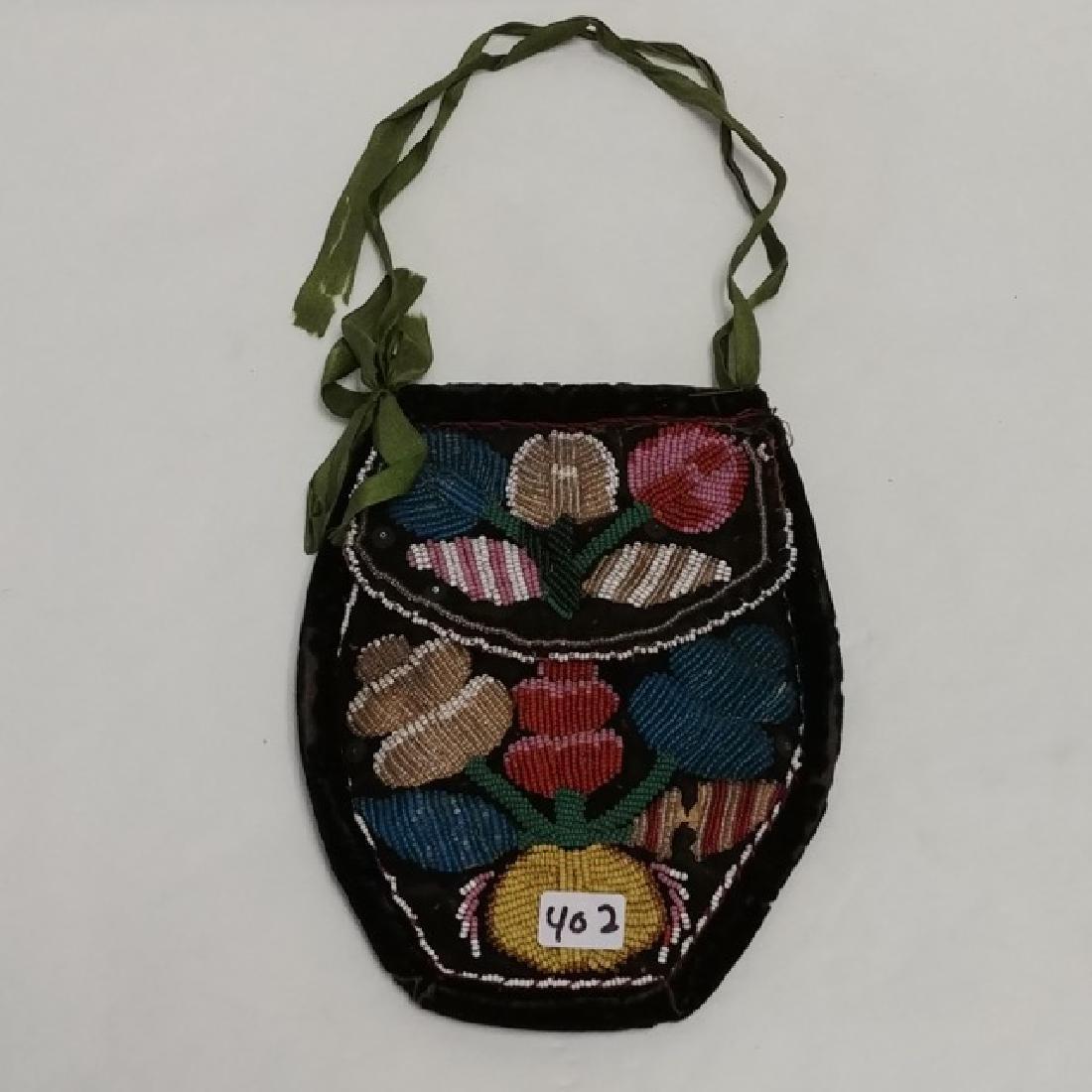 Antique Iroquois Beaded Pouch on Velvet