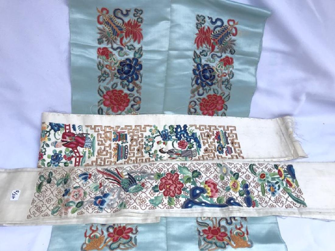 Three 19th C. Chinese Silk Embroidered Sashes