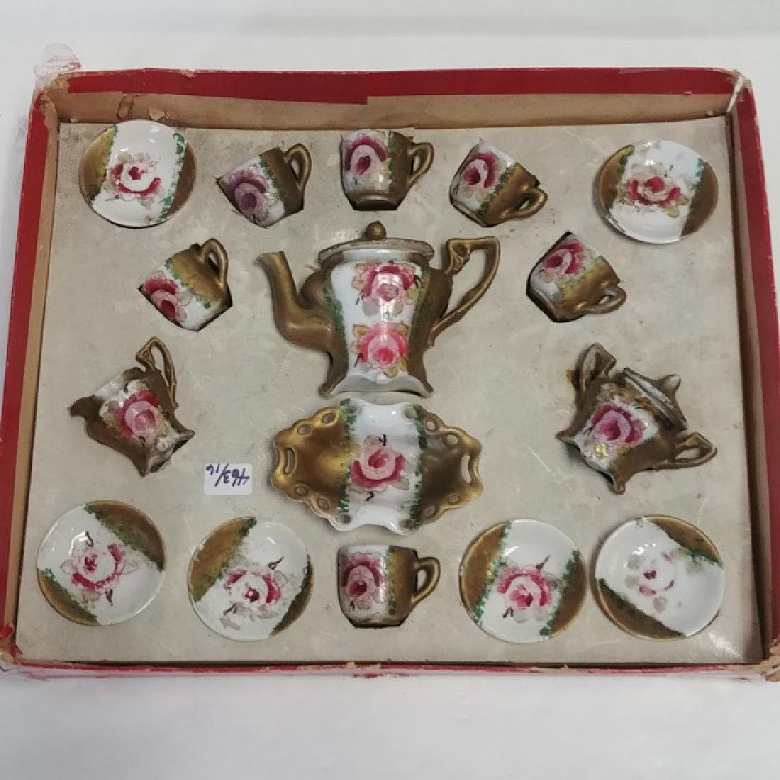 Antique Doll's Porcelain Tea Set