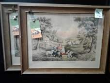 Two Currier  Ives Hand Tinted Lithos