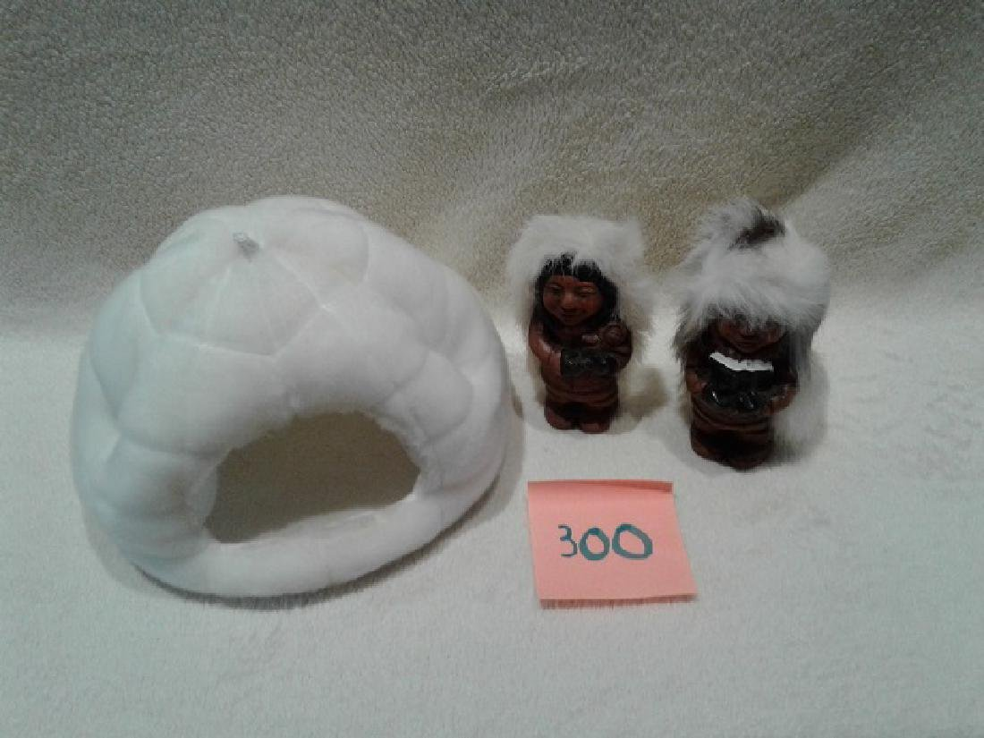 Carved Inuit Figures with Igloo