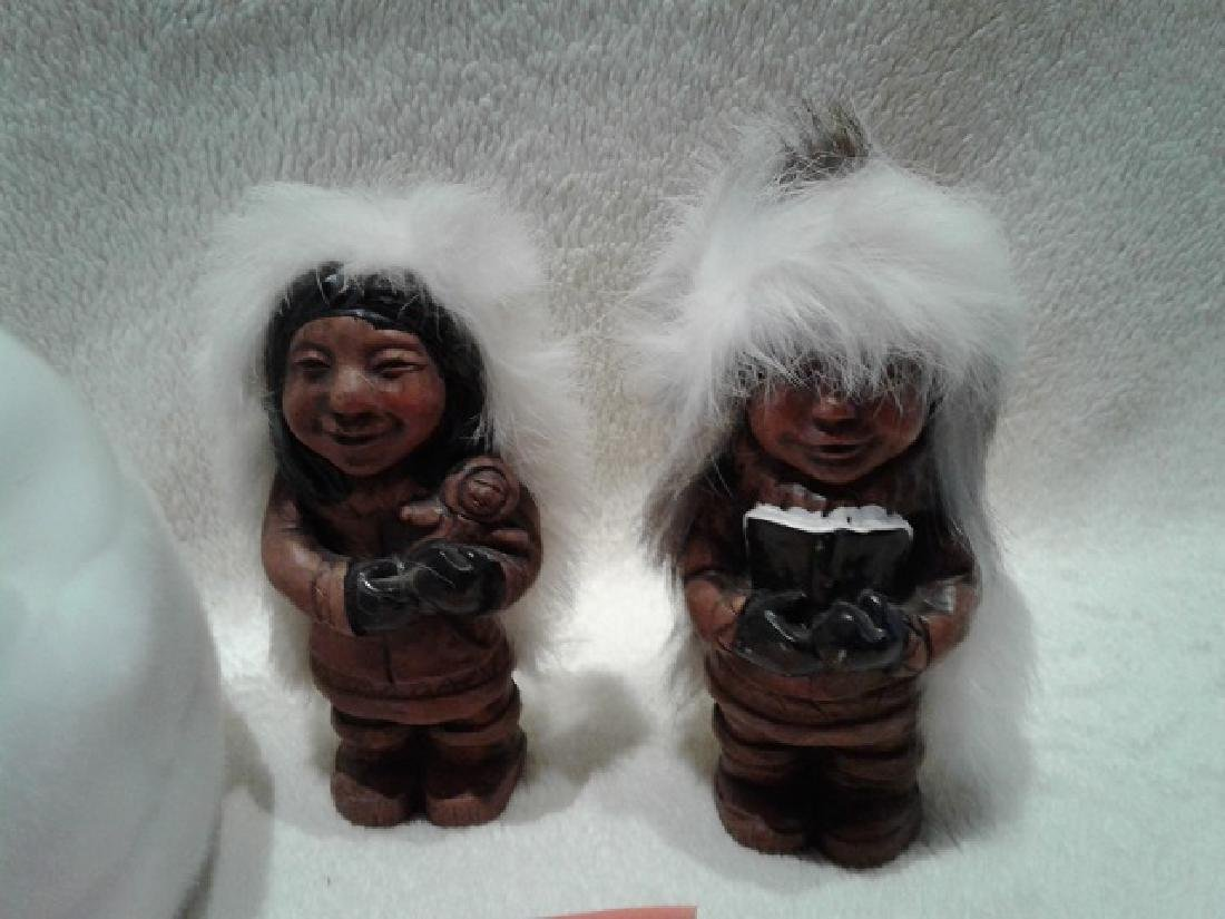 Carved Inuit Figures with Igloo - 2