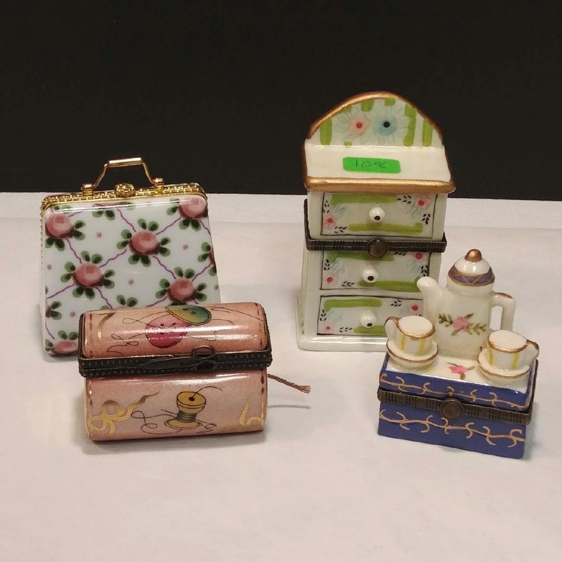 Ladies Lot of Pink & White Trinket Boxes