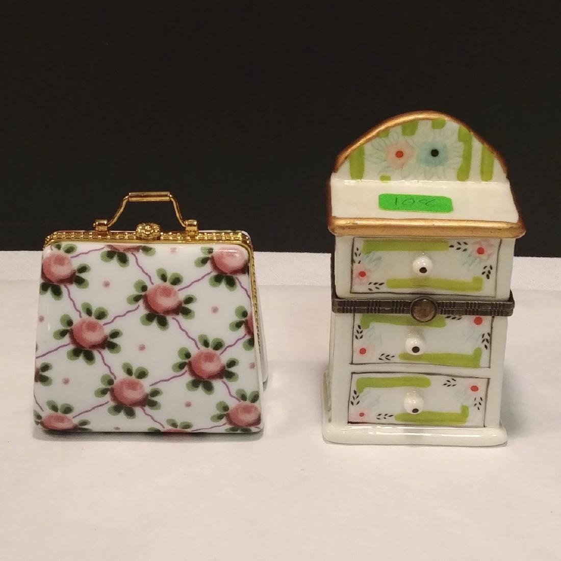 Ladies Lot of Pink & White Trinket Boxes - 5