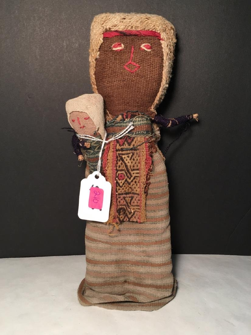 Vintage Chancay Folk Art Cloth Figure with Child