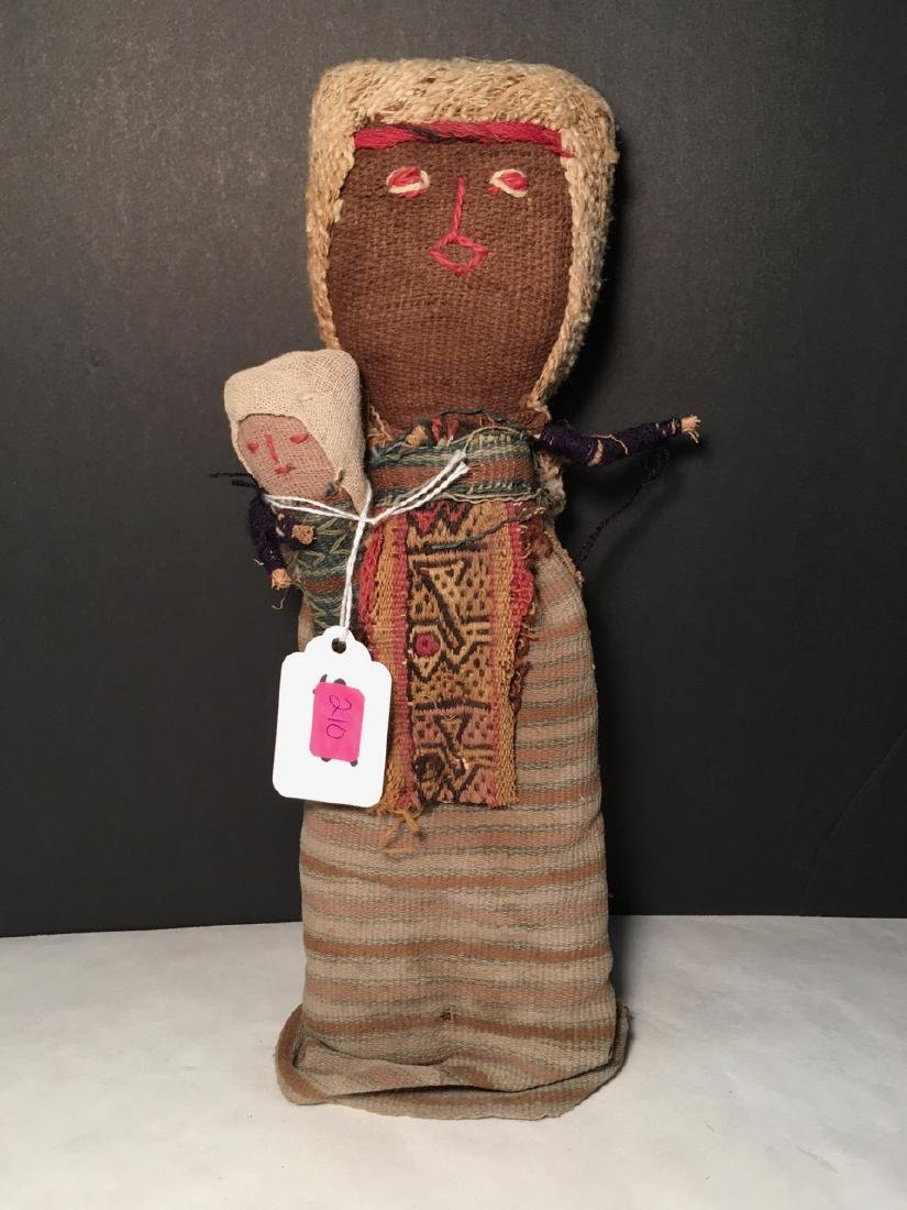 Vintage Chancay Folk Art Cloth Figure with Child - 2