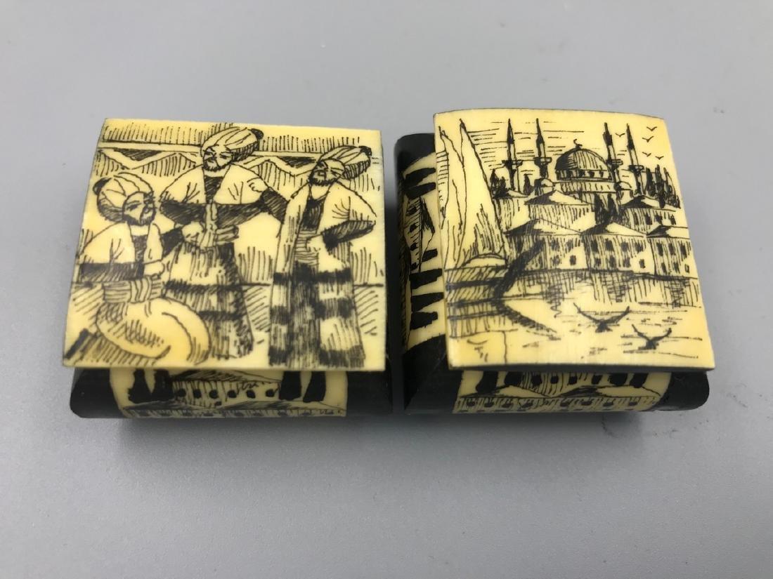 Pr. Middle Eastern Camel Bone Trinket Boxes