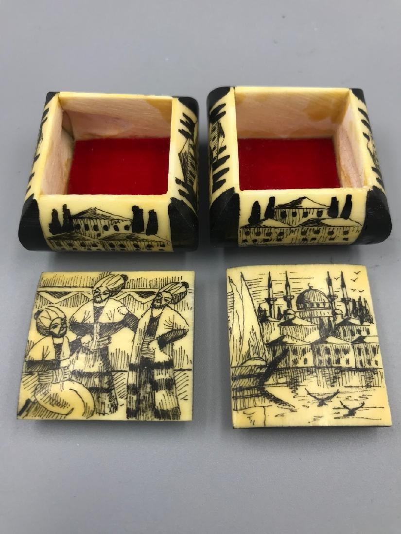 Pr. Middle Eastern Camel Bone Trinket Boxes - 2
