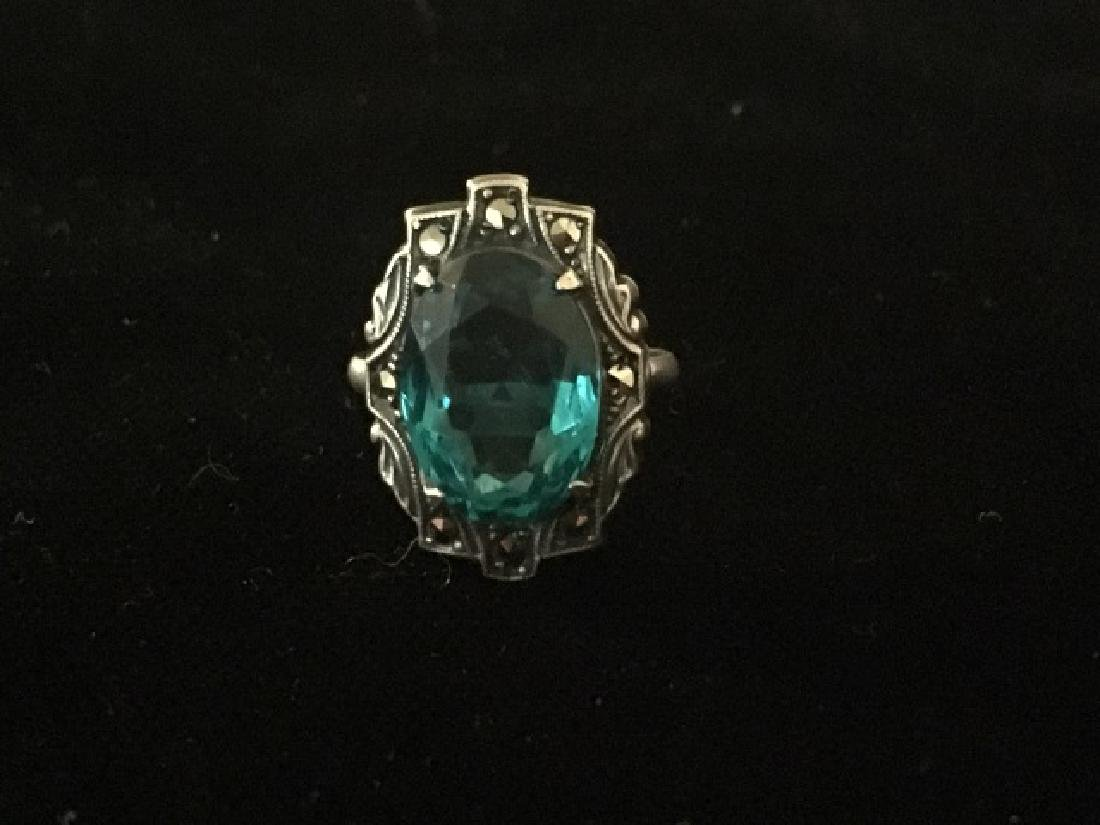Vintage Marcasite Pin and Sterling Ring - 2