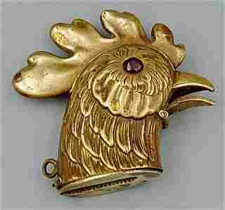 European Brass Cockerel Match Safe
