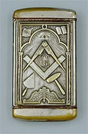 Silver Plated Masonic Match Safe