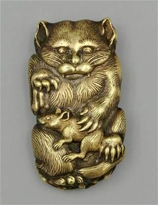 Japanese Brass Figural Match Safe