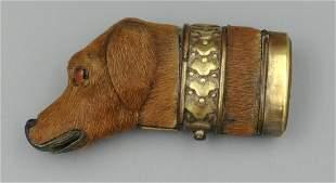 19th C Hide Covered Dog Match Safe
