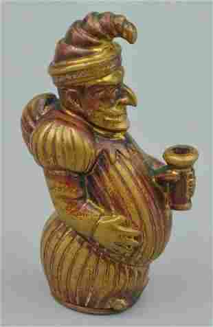 Brass Plated Punch Figural Match Safe
