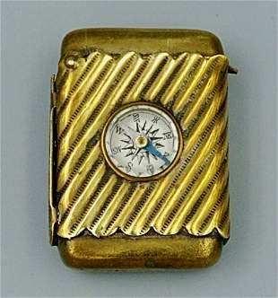 Brass Compass Match Safe