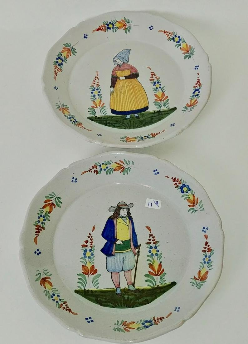 French Faience Quimper Style Plates