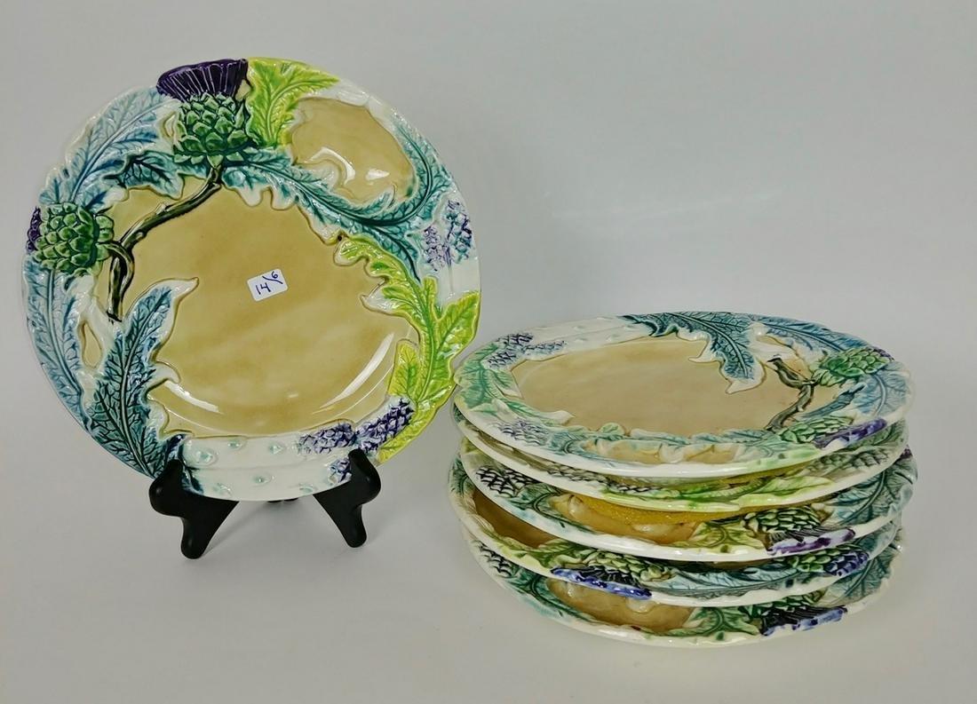 French Majolica Artichoke/Asparagus Plates (6)