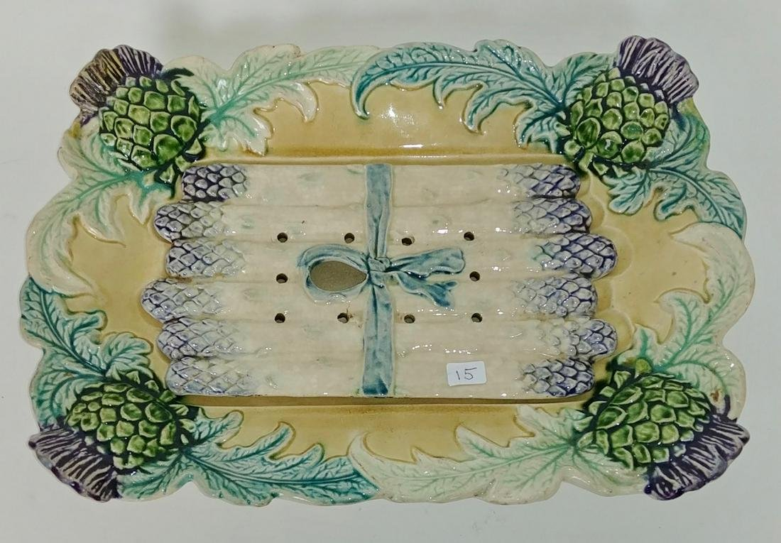 French Majolica Artichoke/Asparagus Serving Platter
