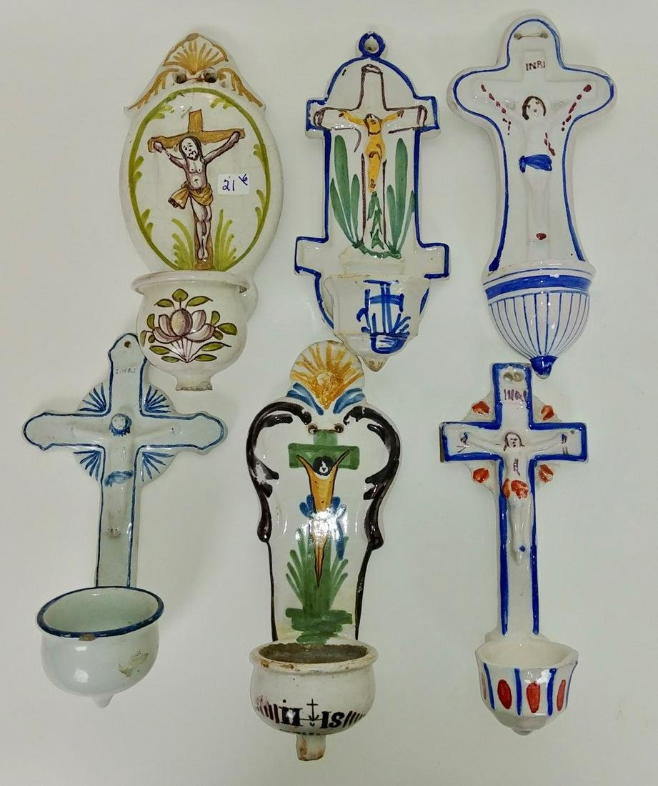French Faience Holy Water Fonts (6)