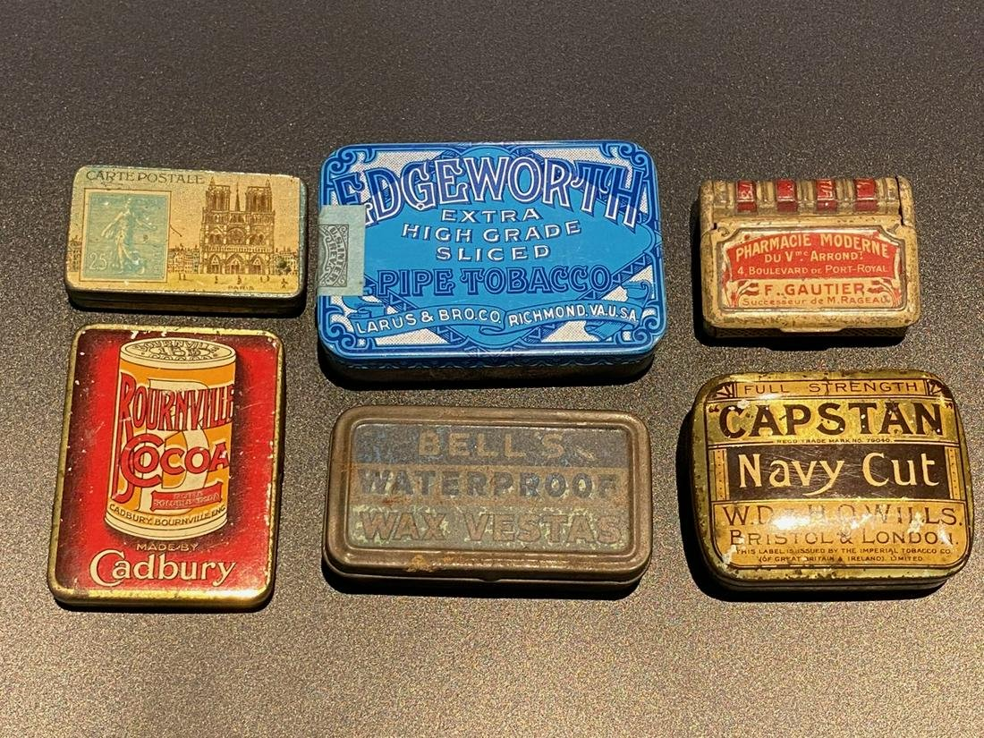Lot of Tin Advertising Match Holders (6)