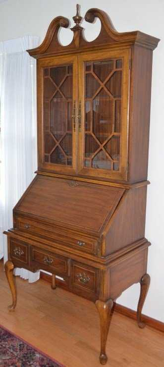 - Queen Anne Drop Front Secretary Desk With Hutch