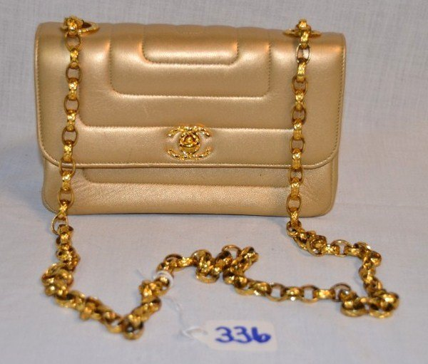 Chanel Gold Leather Purse
