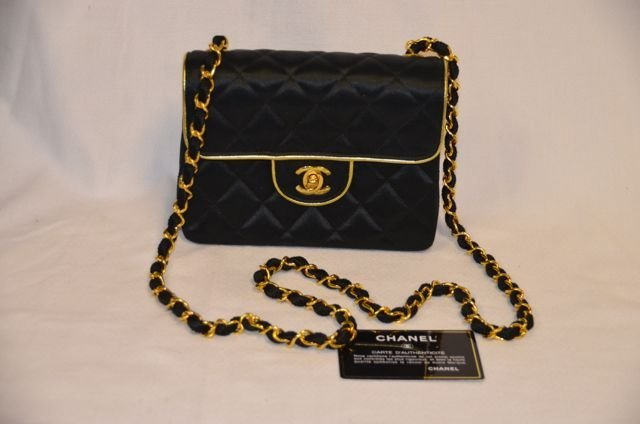 Vintage Chanel Black Silk Quilted Purse