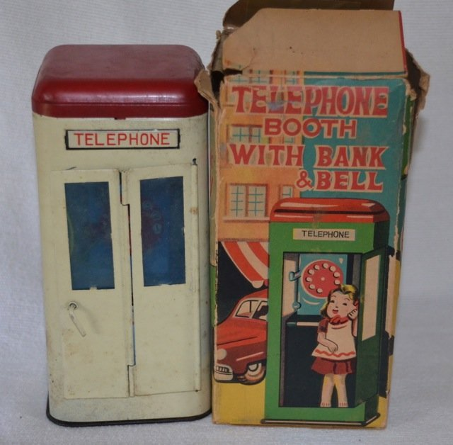 1950's Cragstan Tin Toy Telephone Booth