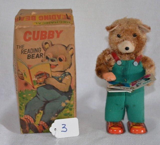 Cubby the Reading Bear Mechanical Tin Toy