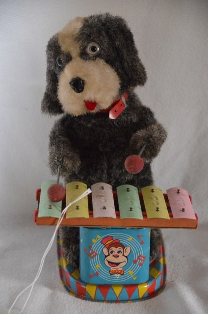 Battery Operated Alps Tin Toy Dog with Xylophone