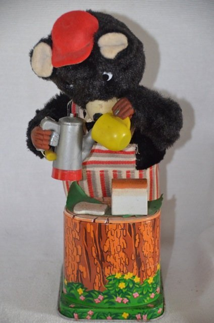Battery Operated Bear with Coffee Pot Tin Toy