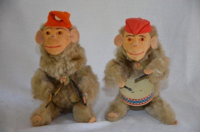 Two West German Mechanical Musical Monkeys