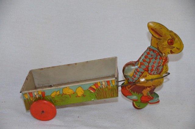 Ohio Art Co. Tin Rabbit with Cart Toy