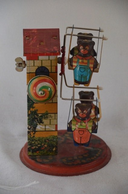 Rare Tin Wind Up Ferris Wheel Toy with Bears