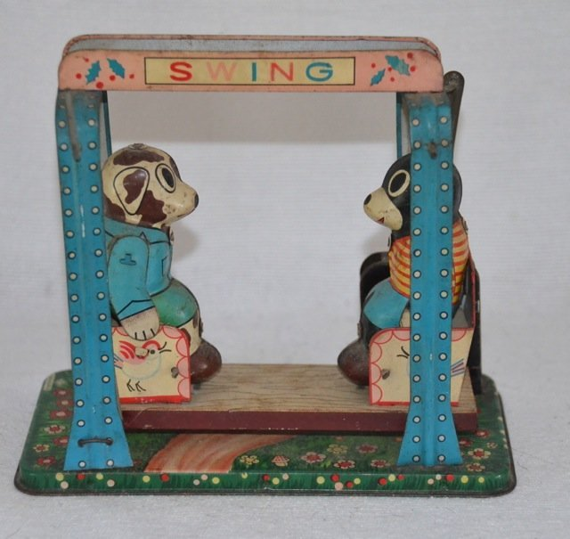 Tin Mechanical Swing Toy with Bears