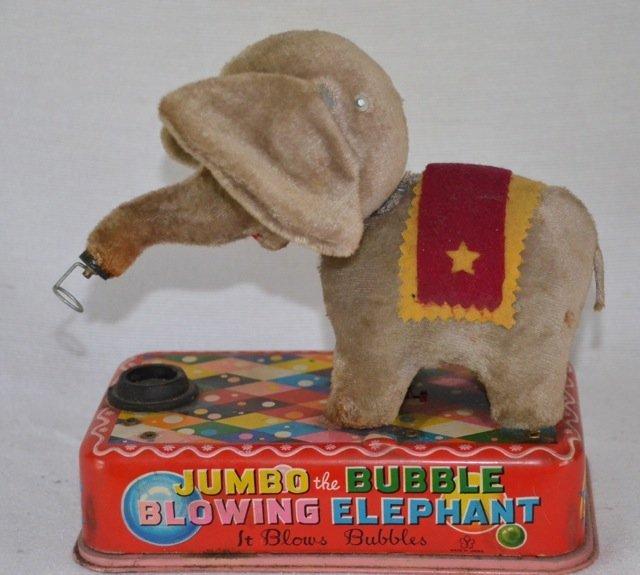 Jumbo the Bubble Blowing Elephant Tin Toy